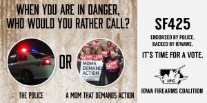 Iowa Police or Mom Demand Action. Who would you think knows more about fighting crime?